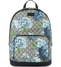 Gucci Blooms Floral Print Classic Backpack Tan Blue