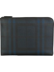 Burberry Checked Document Case Blue