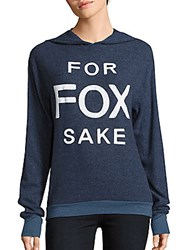 Wildfox Couture Long Sleeve Hooded Pullover Navy