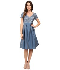 Adrianna Papell Lace V Neck With Pleated Skirt Dusty Blue Women's Dress