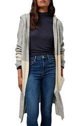 Topshop Women's Hooded Colorblock Duster Cardigan
