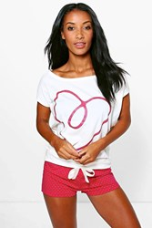 Boohoo Love Heart Polka Dot Short Pj Set Pink