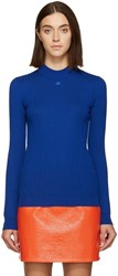 Courreges Blue Classic Ribbed Pullover