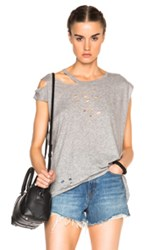 R 13 R13 Sleeveless Ripped Neck Tee In Gray