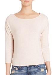 Atm Anthony Thomas Melillo Three Quarter Sleeve Cropped Boatneck Tee Ballet White Black White