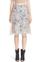 Burberry Women's Pleated Tulle Watercolor Rose Skirt