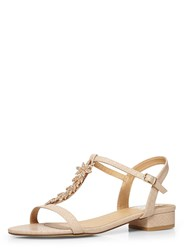 Evans Extra Wide Fit Nude Diamante Sandal Pink