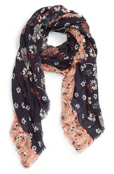 Hinge Women's 'Rustic Floral' Scarf Navy Combo