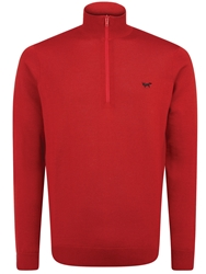 Wolsey 1 4 Zip Long Sleeve Pullover Jumper Red
