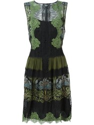 Alberta Ferretti Lace Overlay Dress Green