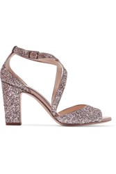 Jimmy Choo Carrie Glittered Leather Sandals Antique Rose