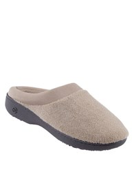 Isotoner Microterry Matte Satin Clog Slippers Stone
