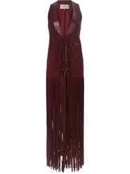 Emilio Pucci Scorpion Patch Fringed Long Waistcoat Red