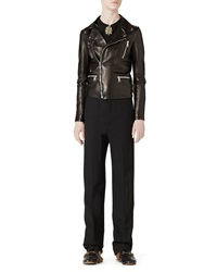 Gucci Embroidered Leather Biker Jacket