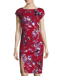 Label By 5Twelve Foil Printed Midi Sheath Dress Red Pattern