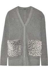 Adam By Adam Lippes Shearling Paneled Cotton Cashmere And Silk Blend Cardigan