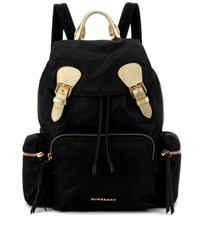 Burberry The Large Leather Trimmed Backpack Black