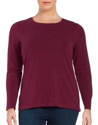 Lord And Taylor Plus Plus Solid Crewneck Tee Raspberry Wine
