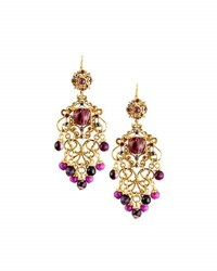 Jose And Maria Barrera Multihued Filigree Chandelier Earrings Purple