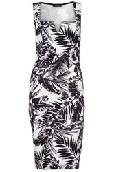 Quiz Cream Tropical Print Midi Dress