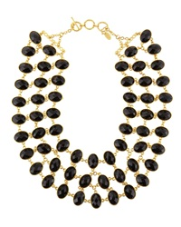 Amrita Singh Reversible 3 Row Faceted Necklace Black Green