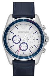 Men's Emporio Armani Chronograph Leather Strap Watch 44Mm