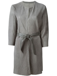 Drome Belted Leather Coat Grey