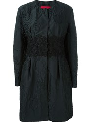 Moncler Gamme Rouge Floral Embroidered Padded Coat Black