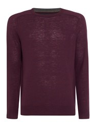Howick Men's Arlington Crew Neck 100 Lambswool Jumper Merlot