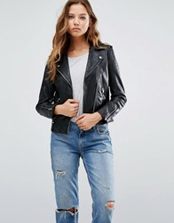Mango Black Real Leather Biker Jacket Black