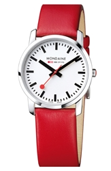 Mondaine 'Simply Elegant' Leather Strap Watch 36Mm Red Silver
