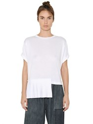 Mm6 Di Maison Margiela Viscose Jersey T Shirt With Plisse Panel