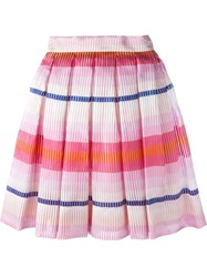 Daizy Shely Stripe Pleated Skirt Pink And Purple