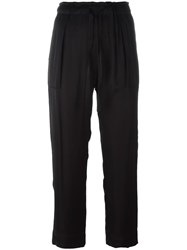 Raquel Allegra Drawstring Cropped Trousers Black