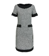 St. John Fringed Tweed Shift Dress Female Ivory