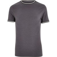 River Island Mens Dark Grey Sporty Muscle Fit T Shirt