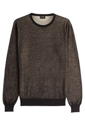 Jil Sander Two Tone Heathered Cotton Pullover Black
