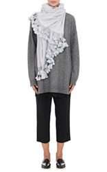 From The Road Women's Kanda Pom Pom Embellished Cashmere Scarf Light Blue