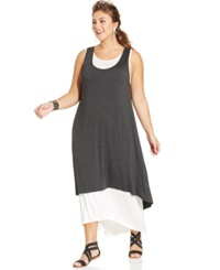 Ing Plus Size Layered Look Sheer Back Maxi Dress Heather Grey