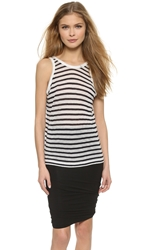 Alexander Wang Stripe Rayon Linen Tank Off White And Navy