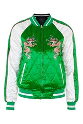 Topshop Two In One Reversible Sateen Bomber Jacket Green