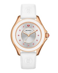 Cape White Silicone Strap Watch With Pink Topaz Dial Markers Rose Golden Michele