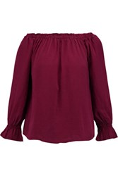 W118 By Walter Baker Mia Off The Shoulder Chambray Top Burgundy