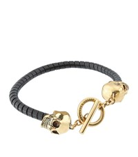Alexander Mcqueen Twisted Leather And Skulls Bracelet Unisex Black