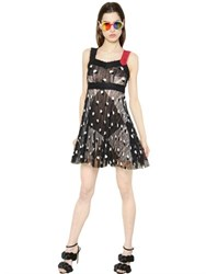 Marco De Vincenzo Pleated Mohair Embroidered Lace Dress