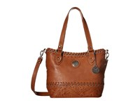 American West Harvest Moon Convertible Zip Top Bucket Tote Golden Tan Tote Handbags