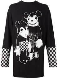 Rene Gurskov Bootleg Mickey Mouse Print Layered Long Sleeved T Shirt Black