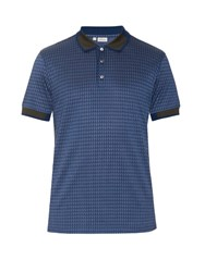 Brioni Hound's Tooth Cotton Polo Shirt Blue