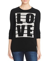 Bloomingdale's C By Love Stripe Cashmere Sweater Black Fog