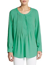 Daniel Rainn Pleated Roll Tab Sleeve Blouse Fern